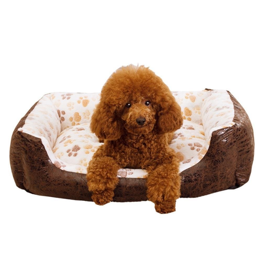 A 756022cmYunYilian Pet Bolster Dog Bed Comfort Cotton can be Washable Waterproof Kennel Dog mat (color   C, Size   90  75  22cm)