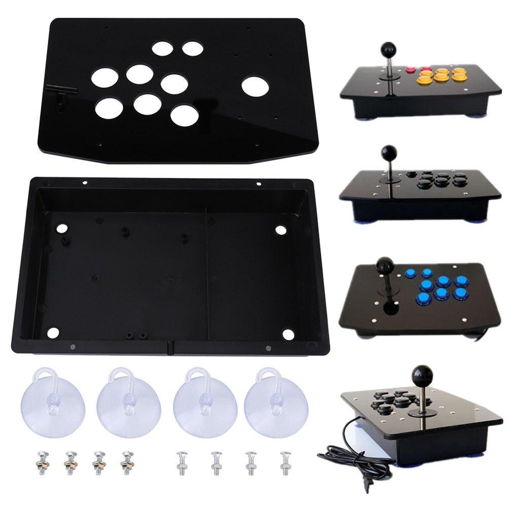 Asixx Kit Arcade fai da te, pannello acrilico nero kit kit fai da te di ricambio per console di gioco arcade Supporto per PC desktop, sistema portatile XP, W7, W8