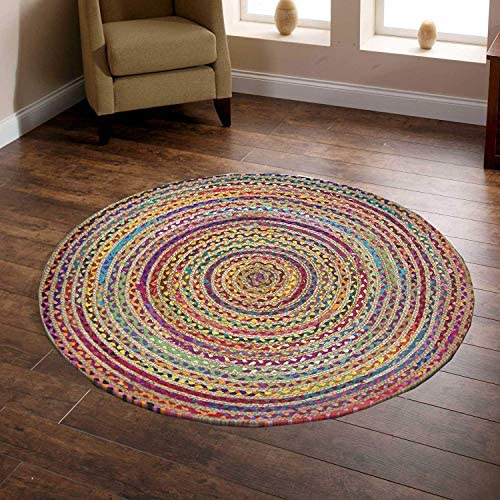 ICRAFTY Natural Jute White Cotton Mix Multi Chindi Braid Rug