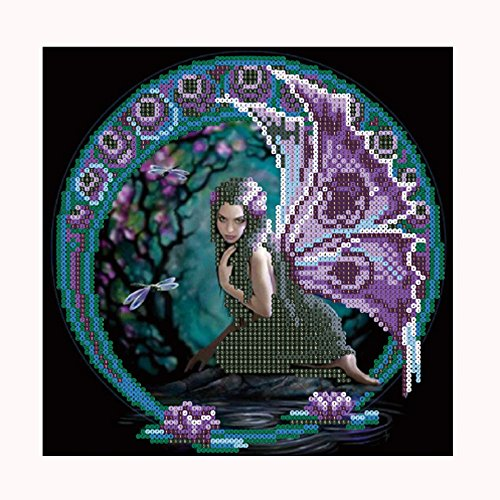 Fineser DIY 5D Diamond Painting By Number Kits,Full Drill Rhinestone Embroidery Masaic Cross Stitch Arts Craft Home Wall Decor--Fairy (30x30cm) - Fairy Bead