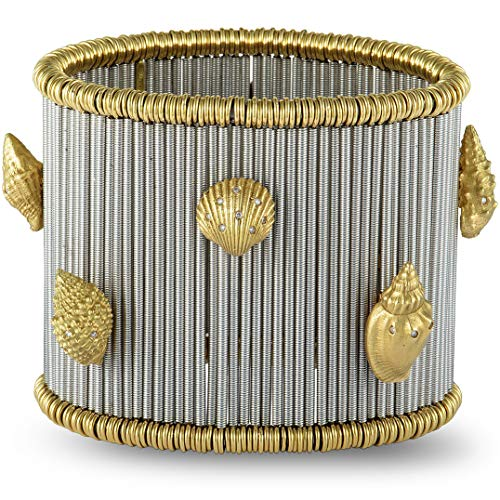 ROBERTO DEMEGLIO 18K White and Yellow Gold Diamond Seashells Wide Elastic ()