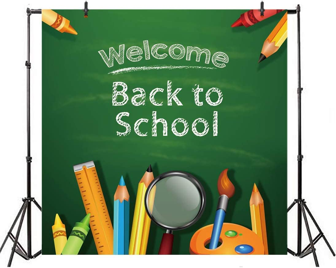 GoEoo 10x10ft Welcome Back to School Backdrop for Pictures Students Kids Baby Drawing Books Blackboard on Wood Plank Board Photography Background Photo Studio Props