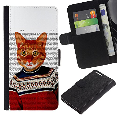 EuroCase - Apple Iphone 6 PLUS 5.5 - cat art orange ginger garfield yellow - Cuero PU Delgado caso cubierta Shell Armor Funda Case Cover