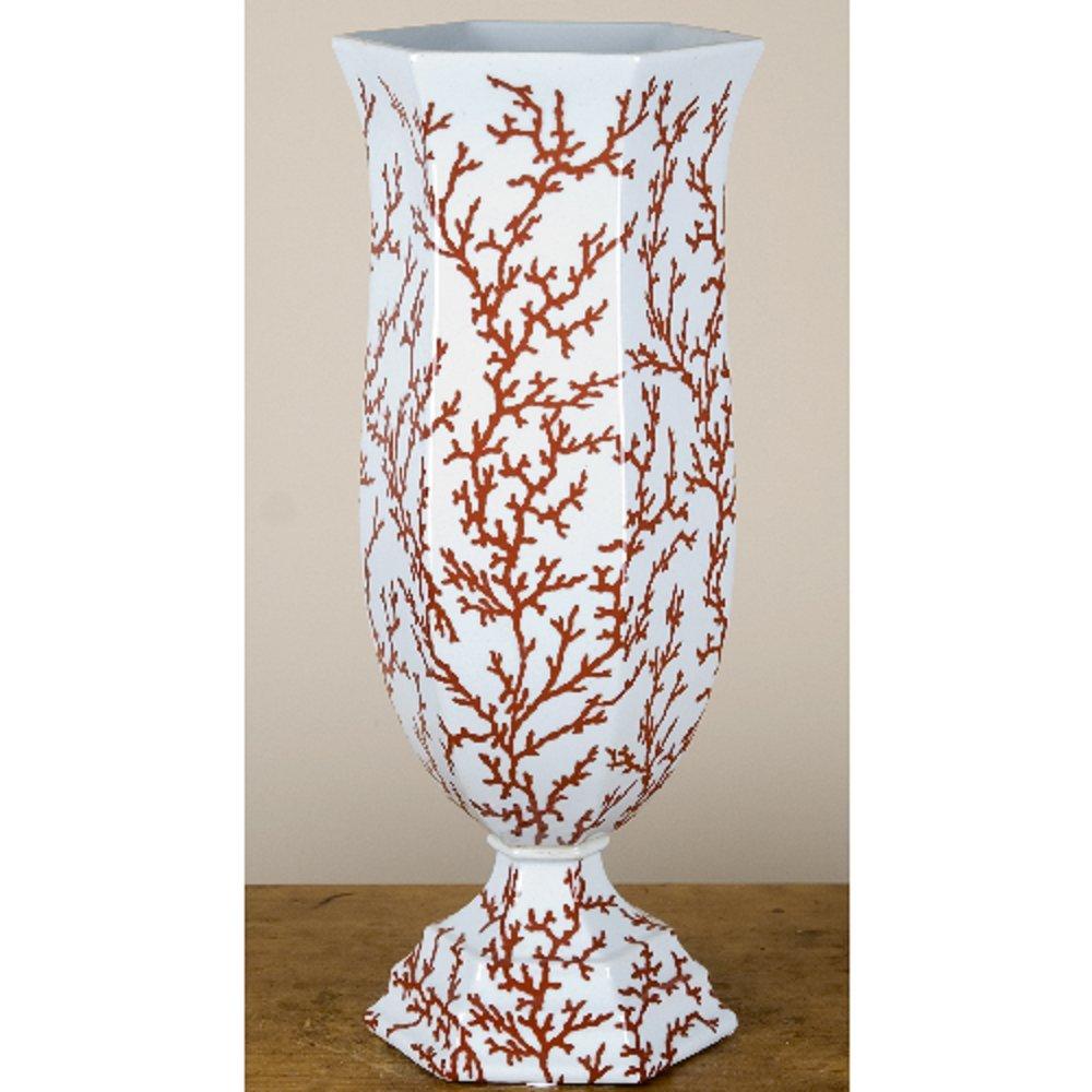 Home decor. White and Coral Porcelain Hexagon Vase. Dimension: 7 x 7 x 19. Pattern: Corals & Shells.