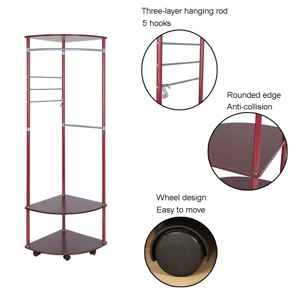 Easy Assembly Floor Clothes Rack Hanger Standing Garment Rack Hat Hanging Stand Holder with 2 Tier Storage Rack C-Easy Industrial Coat Rack Red Walnut