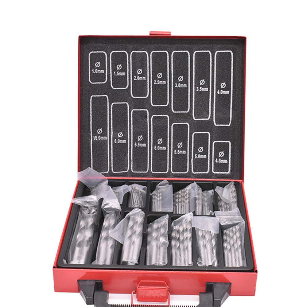 99 PCS HSS Drill Bit Set with Red Metal Storage Box Muti-Size from 1.0mm to 10mm Woodworking Twist Drill Bits for Metal Wood Jewelry Delicate Manual Work Model Making DIY Drilling