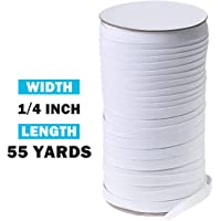 Cotowin 1//8 inch 50 Yards 3mm White Braided Polyester Elastic Roll