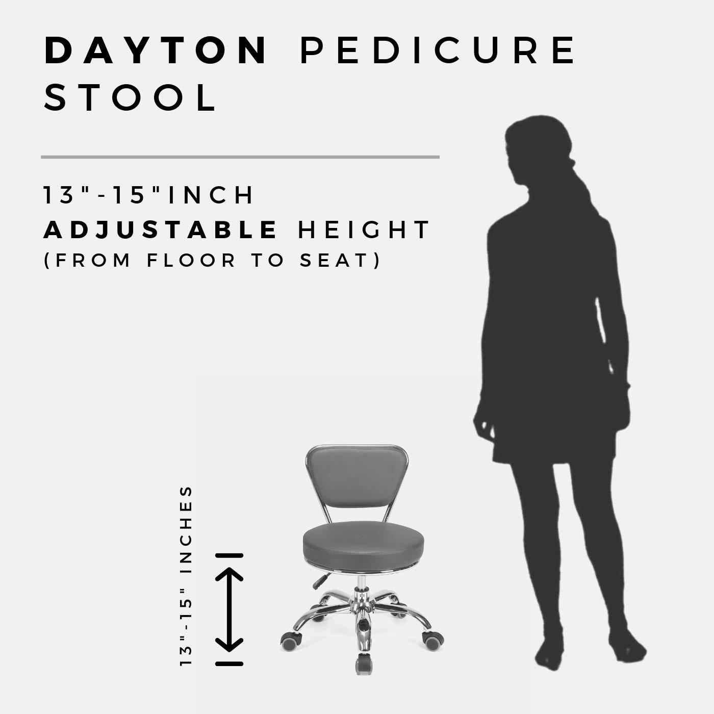 Dayton Pedicure Stool (Black) Pneumatic, Adjustable Height, Perfect for Nail Salon, Pedicure spa