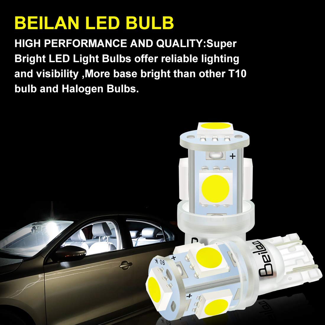BeiLan 10Pcs T10 LED Car Bulbs Lamp 168 194 2825 501 W5W 5-SMD 5050 6000K LED Replacement 6000K Pure White for Car Reading Lamps License Plate Lights Lamps