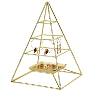 SIMMER STONE 3 Tier Pyramid Hanging Jewelry Organizer, Metal Jewelry Display Stand with Tray, Decorative Tower Holder Storage Rack for Earring, Necklace, Bracelet and Accessories, Gold