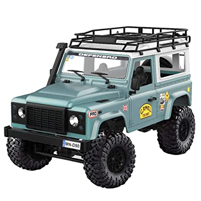 (Shipping from US!!!) HHoo88 MN-90 1/12 RTR Off-Road RC Car with Spare Tire, 2.4G 4WD Truck with Flexible Steering and Powerful Drive, Front LED Lights: Toys & Games