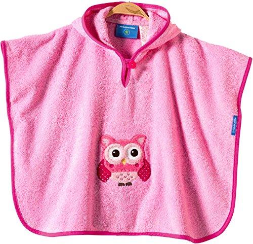 Morgenstern, Frottee Badeponcho, 100 % Baumwolle, Farbe rosa, Motiv Eule, Größe one size (ca. 1 bis 3 Jahre)