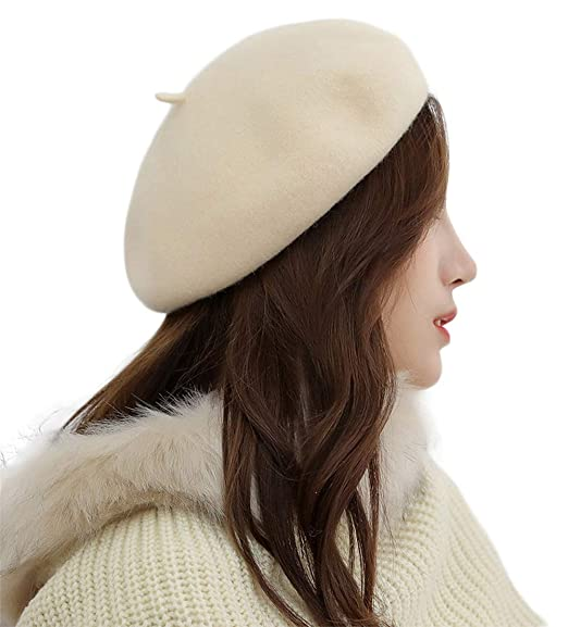 ebb299be19c62 French Style Lightweight Fall Winter Casual Felt Barret Hat Classic Solid  Color Wool Beret Beige at Amazon Women s Clothing store