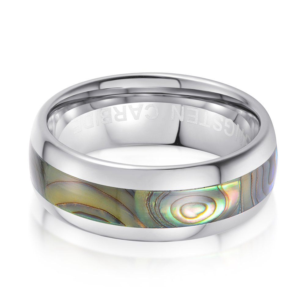 tiitc Silver Tungsten Ring Abalone Shell Inlay Wedding Band for Men Domed Surface 8mm