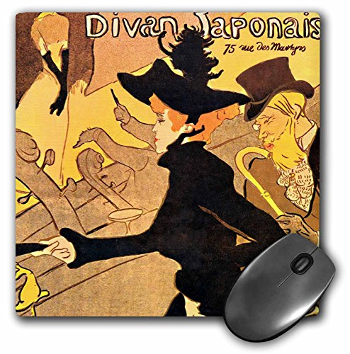 (3dRose Divan Japonais, Toulouse-Lautrec, vintage French advert poster - Mouse Pad, 8 by 8 inches (mp_162558_1) )