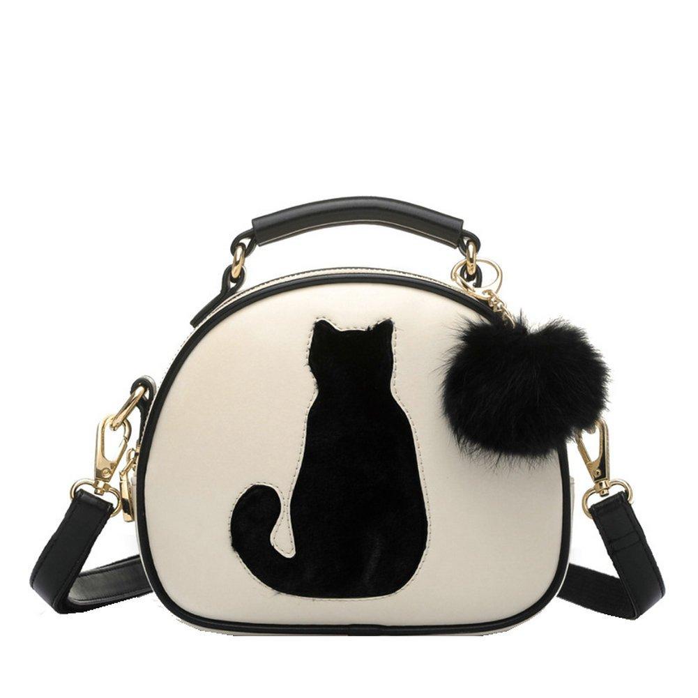 Messenger Tasche, Cozyswan Mädchen Messenger bag PU Leder Handtasche Niedliche Katze Umhängetasche mit Plüsch Anhänger Crossbody Messenger Tasche (Beige) 2480940