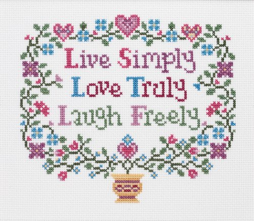 Janlynn Live, Love, Laugh Counted Cross Stitch Kit-8