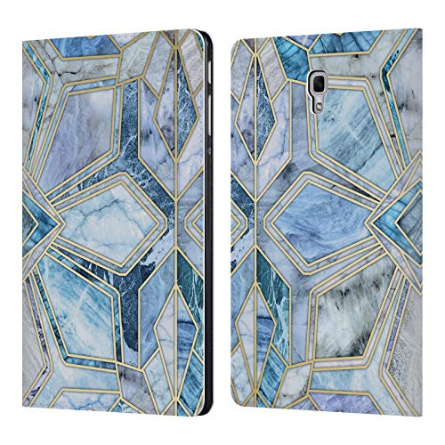 Official Micklyn Le Feuvre Geometric Gilded Stone Tiles in Soft Blues Marble Patterns Leather Book Wallet Case Cover for Samsung Galaxy Tab A 10.5 (2018)