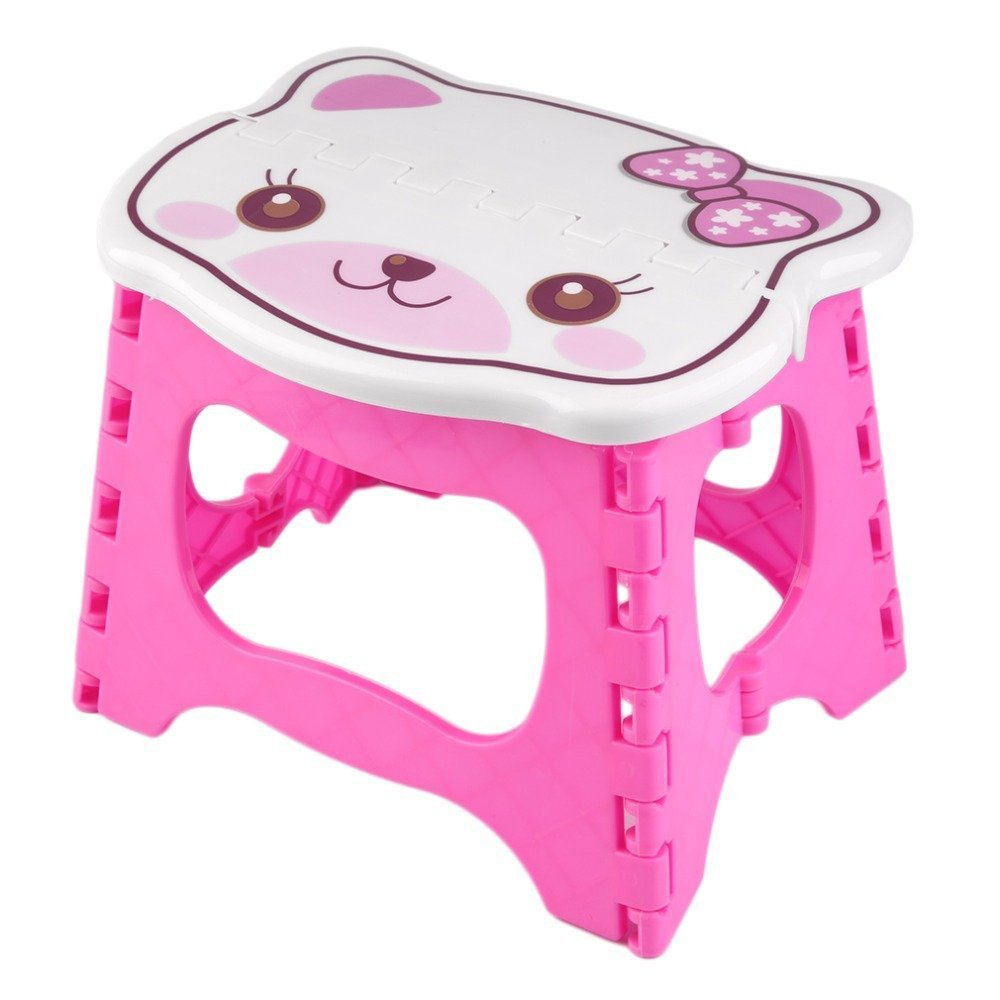 Kids Step Stool 9 inch width by 8 inch tall, Fold able easy to carry. Teddy face on top to add color & fun! (Yellow) Decor Hut DH136A