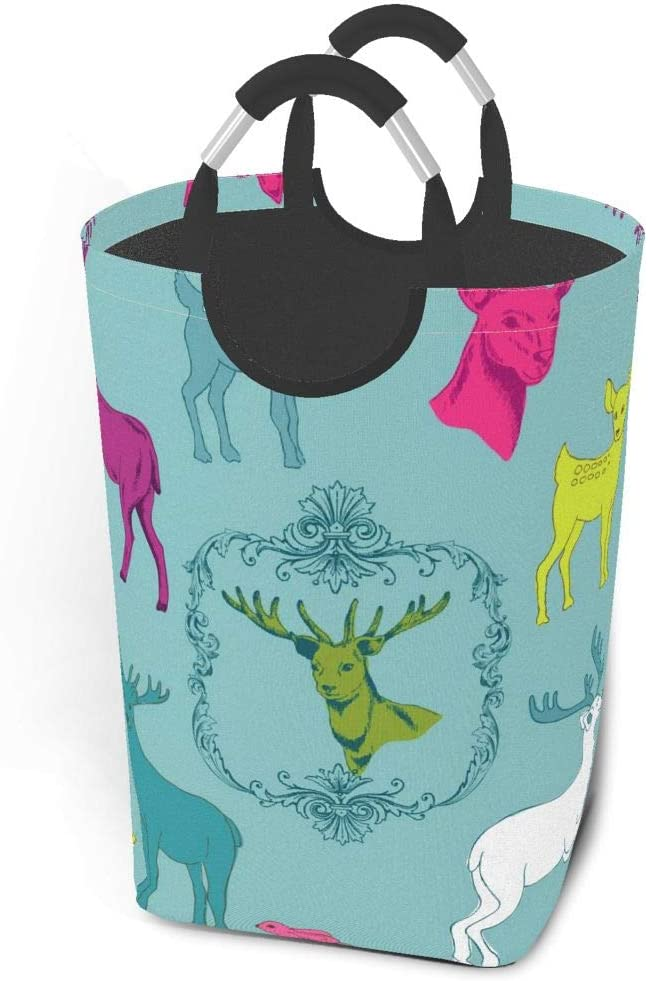 Collapsible Laundry Baskets Beautiful Cute Deer Christmas Turquoise Blue Large Dirty Laundry Hamper Colapsable Collaspable Calaspable Fold Dorm Fabric Laundry Basket For Baby Girl Kids Clothes Camp Tr