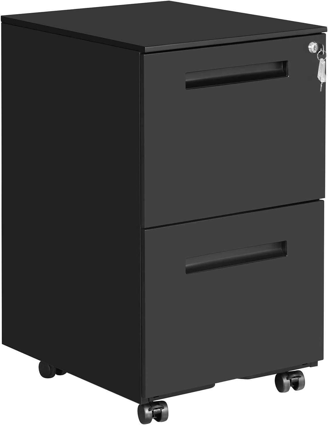 SONGMICS Caisson de Bureau Mobile, avec 2 Tiroirs, Verrouillable, pour Documents de Bureau, Dossiers Suspendus, Pré-Assemblage, 39 x 50 x 69,5 cm (L x l x H), Noir Mat OFC52BK