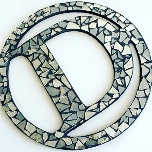 Mirror Mosaic Wall Art, 14 inch, Handcrafted Monogram Letter Wall Art Mosaic Wreath - Personalized Art Decor