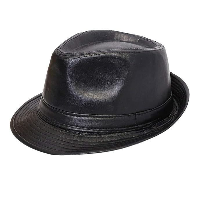 6558a373d Amazon.com: Autumn Winter Classic PU Leather Fedora Hat British ...
