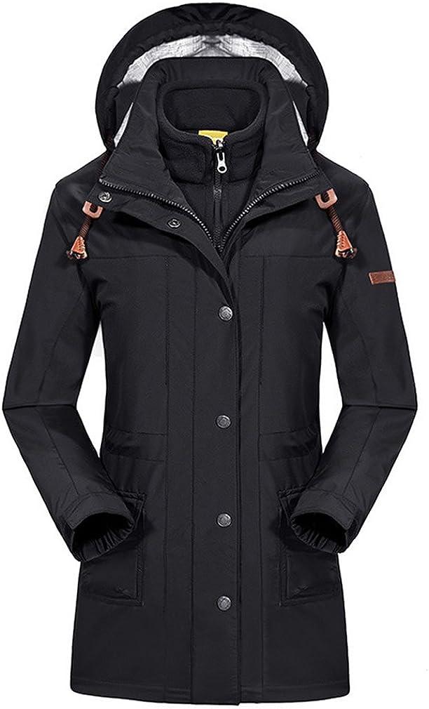 emansmoer Damen 3 in 1 Winddicht Winter Kapuze Lange Mantel Frauen Wasserdicht Outdoor Sport Ski Wandern Camping Jacke