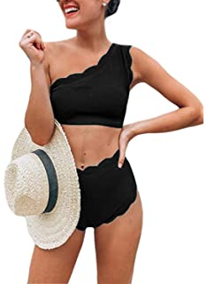 f9a9cc8513d45 Aleumdr Womens Vintage High Waisted Two Pieces Scalloped Trim One Shoulder  Bikini Bathing Suit