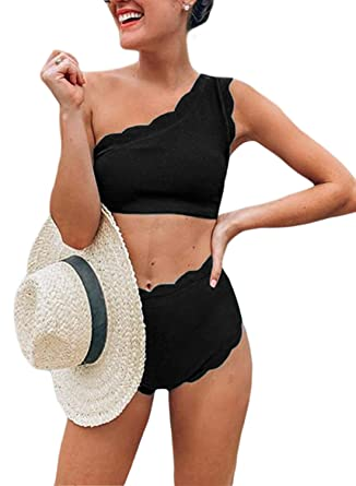 3730f192d Amazon.com: Aleumdr Womens Vintage High Waisted Two Pieces Scalloped Trim  One Shoulder Bikini Bathing Suit: Clothing