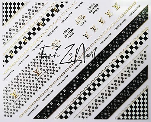 Tempea Designer LV GG Logo Gold Black Glitter Stripping Tape Nail Decals Shimmering Golden Brown Nail Art Stickers Gold Chain Checkered Nail Decals Hippie Reggae Graffiti Nail FOILS Nail Wraps