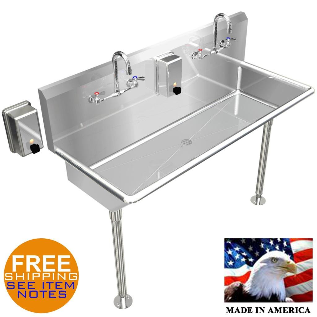 HAND SINK INDUSTRIAL LAVABO MULTIUSER 2 PERSON 48 STAINLESS STEEL MADE IN USA