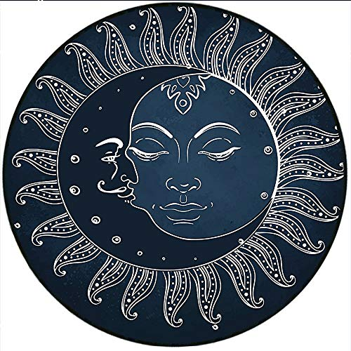 Short Plush Round Rug Sun and Moon Spiritual Celestial Theme Sun with Crescent Moon Midnight Art Dark Blue Slate Blue White Living Room Coffee Table 70.8
