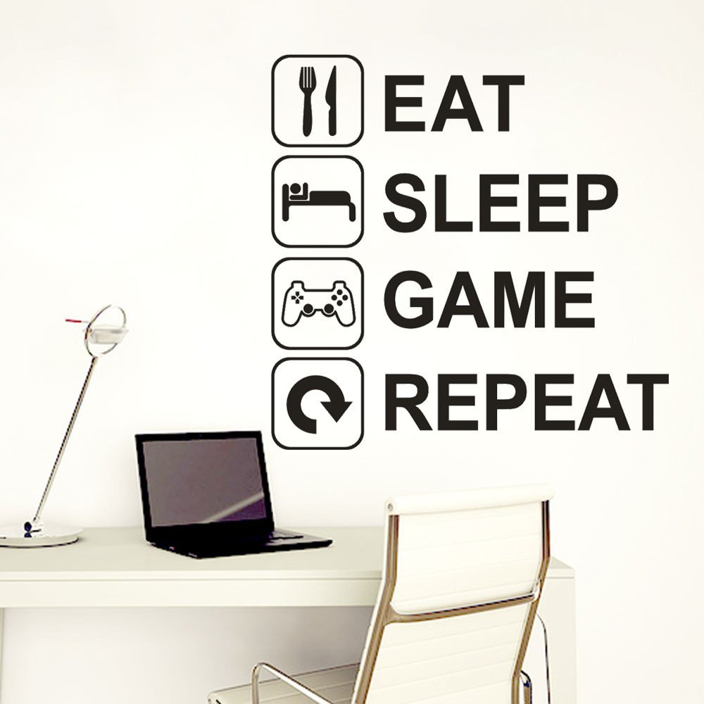 Euone Wall Sticker, Eat Sleep Game Repeat Art Vinyl Mural Home Wall Stickers (C) by Euone (Image #3)