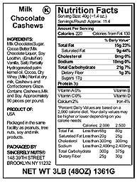 MILK CHOCOLATE CASHEWS-3LBS!!!