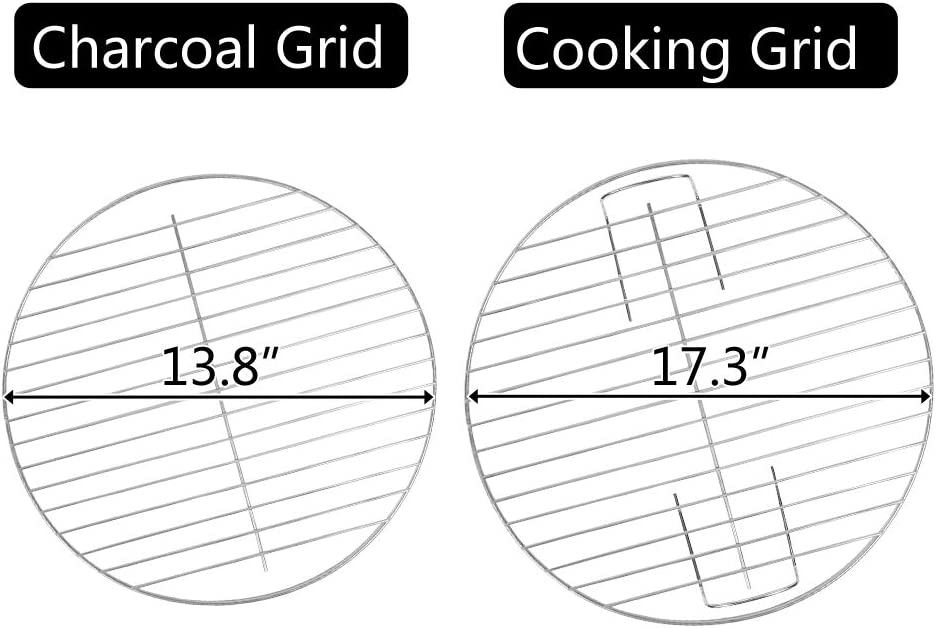 SSLine Portable Charcoal Grill 18-inch Diameter BBQ Grill Charcoal Stove on Wheels Small Barbecue Grill Cooker for Outdoor Grilling Camping Picnics Tailgating Party