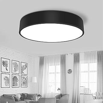 Nordisch Moderne Deckenleuchte Einfach Kreative Runde Deckenlampe Metal  Acryl Schwarz Weiß LED 28W Schlafzimmer Lampe Esszimmer