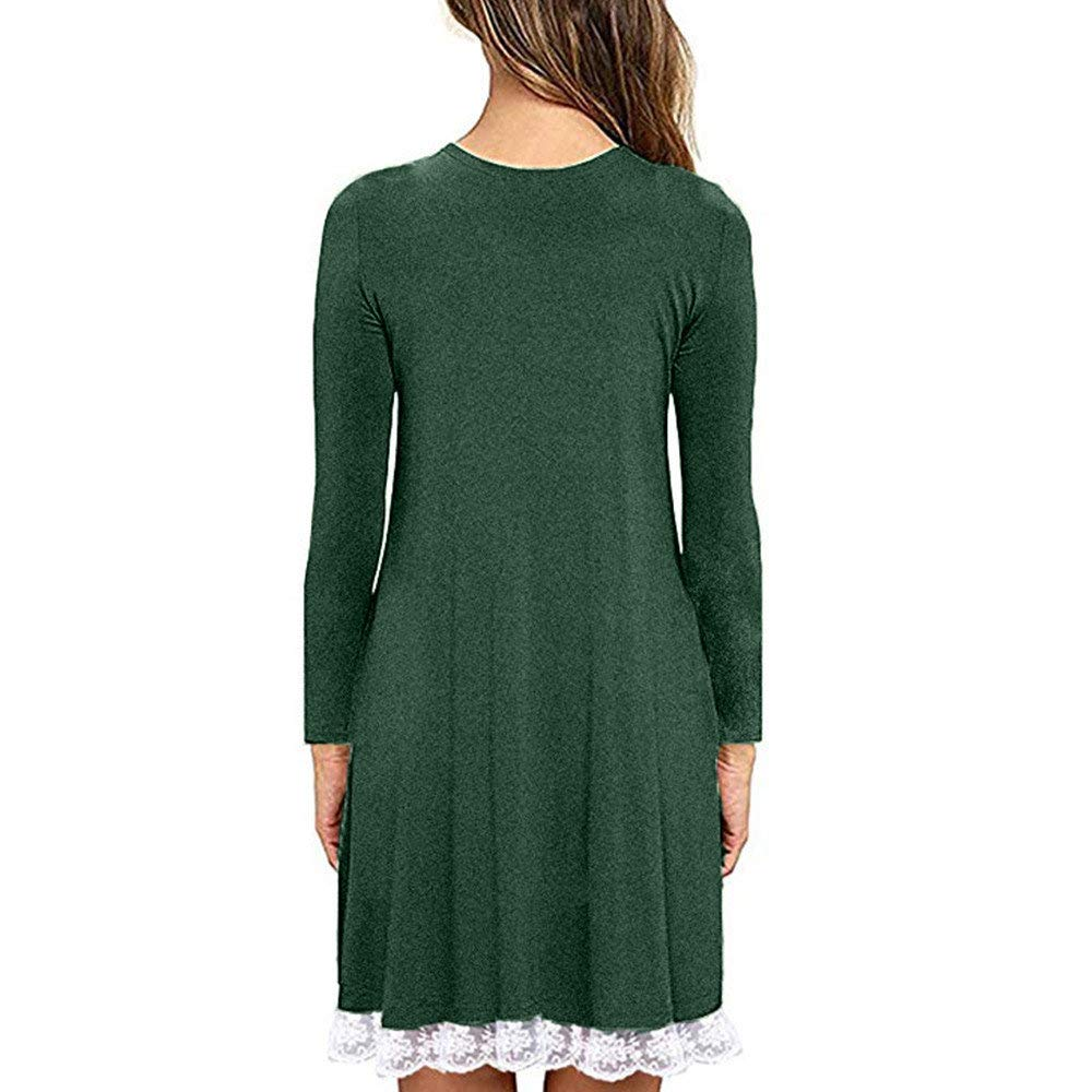 Toponly Womens Long Sleeve Pleated Loose Swing Casual Dress with Pockets Knee Length