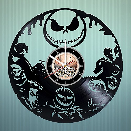 Nightmare Before Christmas Jack HANDMADE Vinyl Record Wall Clock - Kids Room wall decor - Gift ideas for friends, teens - Cartoon Unique Art Design