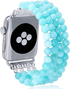 KAI Top Fashion Watch Band Compatible with Apple Watch 38mm 40mm 42mm 44mm for Women Girls,Quartz Beaded Elastic Band Replacement Stretch Strap Compatible for iWatch Series 5 4 3 2 1