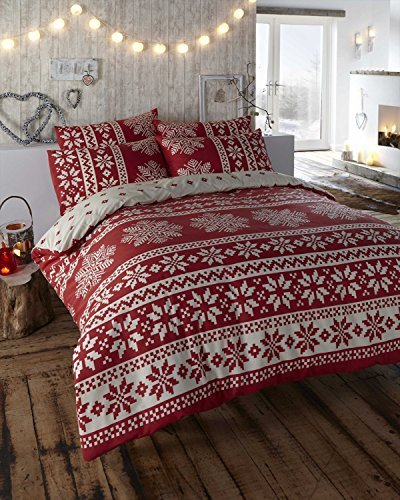 Alpine Retro Nordic Alpine Snowflake Print Revsersible Duvet Cover Bed Set Red Single by Christmas Snowflake