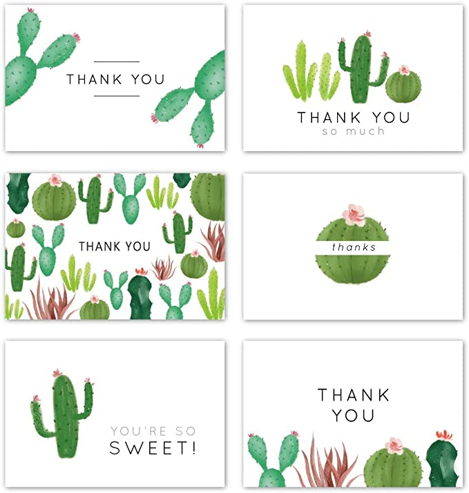handmade cards Modern theme Bright colors Cute and Artsy! Stationary blank cards with envelopes 6 Cactus blank note cards