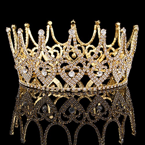 FUMUD High End Women Tiara Austrian Rhinestone Queen Crown luxurious Bride Hairband hair ornaments Wedding Party Accessories 2.9'' -
