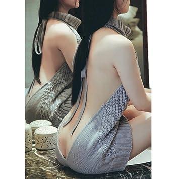 JYSPORT Backless sin tirantes jerséis Cut Out hombro de Tops Camisa Blusa Femenina, mediano