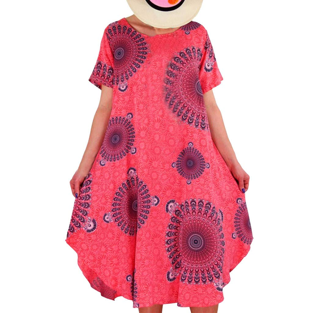 ZOMUSAR Fashion Women Boho Summer Prints Short Sleeve Dress Beach Maxi Dress for Ladies Watermelon Red