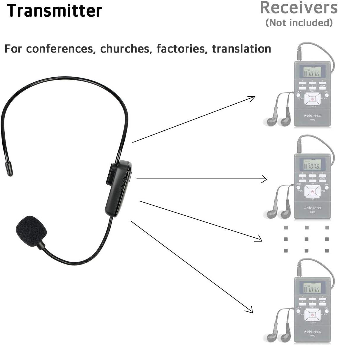 Retekess TR503 Microphone sans Fil Haut-Parleur FM Micro Serre T/ête sans Fil avec Batterie Rechargeable Syst/ème Audio pour R/éunions Simultan/ées Enseignement et Syst/ème de Guide Touristique