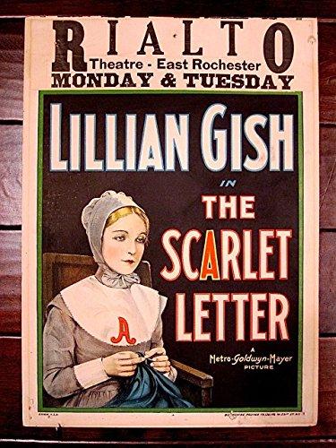SCARLET LETTER '26 SILENT FILM WINDOW CARD POSTER LILLIAN GISH SUPER RARE STYLE
