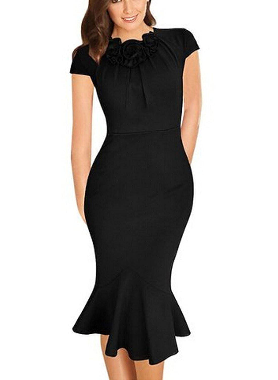 Fordestiny Damen Elegant Patterned Kleid Fishtail Rock Stretch ...