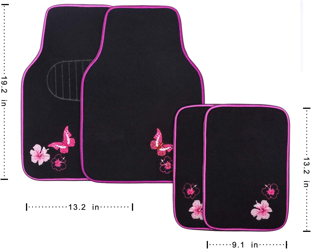 Black with Pink CAR PASS-Universal Fit Embroidery Butterfly and Flower Car Floor Mats,Universal fit for SUV,Trucks,sedans,Vans,Set of 4