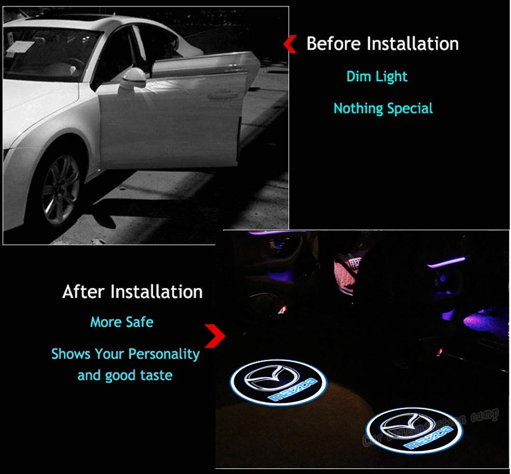 for mazda 2Pcs Car Door Welcome Light Wireless LED Ghost Shadow Projector Logo Light Car Door Courtesy Light Lamp Suitable For Mazda All Models